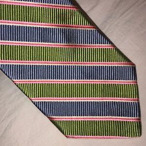 Robert Talbot Lt Blue Chartreuse Striped Neck Tie
